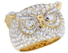 Men's 10K Yellow Gold Genuine Diamond Iced Owl Face Pinky Ring 1 1/2 Ct 17MM