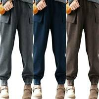 Womens Plus Size High Waist Loose Harem Trousers Pockets Casual Bottoms Pants