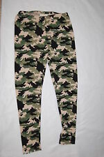 Womens Leggings GREEN BROWN BIEGE CAMOUFLAGE Camo Stretch Pants M 8-10