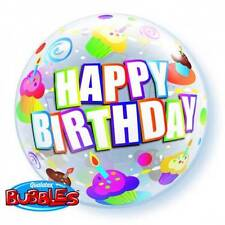"""22"""" BUBBLE BALLOON """"HAPPY BIRTHDAY COLOURFUL CUPCAKES"""" PARTY - STRETCHY"""