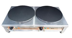 220V Electric Crepe Maker Double-Burner Commercial Pancake Cooker Nonstick Crepe