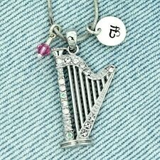 Harp Personalized Music Pendant Letter Birthstone Charm Custom Necklace Chain