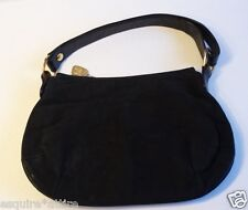 "Morris Moskowitz women leather suede black hobo style bag (12"" x 2"" x 6"")"