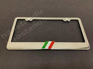 1x ITALIAN FLAG 3D Emblem Badge Stainless Steel Chrome License Plate Frame Italy