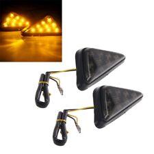 2x Triangle Flush Motorcycle Turn Signal Blinker Indicator Light 9LED Smoke Lens