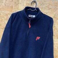 Vintage FILA Logo 1/4 Zip Neck Fleece Sweatshirt XL Jumper Retro 90s Top Navy