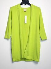 Sweet Romeo - M - NWT - Neon Green Cotton Blend Long Hooded Cardigan Sweater