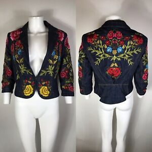 Vintage Colorful Floral ZUPPE Button Fitted Stretch Party Casual Jacket Blazer Sz 14 42