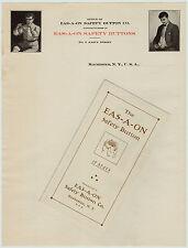 RARE ca 1905 Eas-a-on Button Billhead & Brochure Rochester NY Advertising NOS