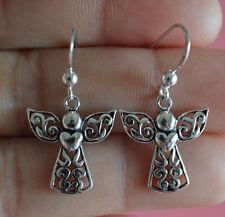 925 Sterling Silver Angel Wing & Heart Cross Dangle Earrings - Angel Earrings