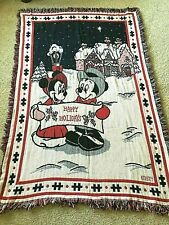 Disney Mickey Mouse Christmas Happy Holidays Woven Throw Blanket with Fringe