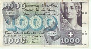 SWITZERLAND 1000 FRANKEN 1965  P 52. HIGH VALUE. 8RW 13NOV