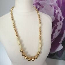 Napier Vintage 80's Gold Toned White Beaded Necklace Costume