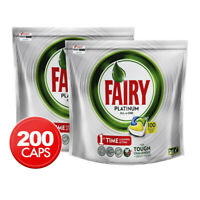 200 Fairy Platinum All-In-One Lemon Dishwashing Capsules Dishwasher Tablets Caps