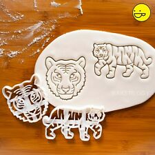 Set of 2 Tiger cookie cutters | animal conservation endangered wildlife biscuits