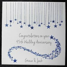 Personalised Handmade 45th Sapphire Wedding Anniversary Card