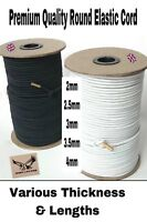 ROUND ELASTIC CORD SHOCK BUNGEE CRAFT - BLACK / WHITE VARIOUS LENGTH/THCIKNESS