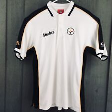 b9bb9bd43 Pittsburgh Steelers NFL Mens Golf Polo Shirt White Black Gold Size Large   L17
