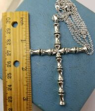 """James Avery Retired XL Bamboo Cross W/24"""" Avery Rolo Necklace"""
