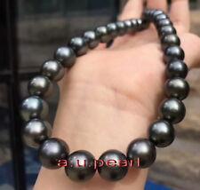 "AAA 17""13-15mm Natural REAL ROUND TAHITIAN black pearl necklace 14K TAHITI"