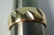 14K Yellow Gold Band Ring w/ Insized Design, by First Love, 7.9g, Size 10