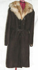 European Women's Lamb Sheepskin Leather Long Coat - size 50 or XXL