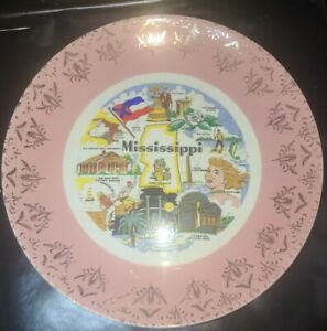 Vintage Mississippi Collectible State Souvenir Plate Ceramic Kitschy Decor