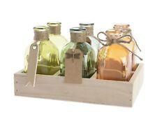 6 Glasflaschen Dekoflaschen Dekorflasche Kräuter Küche Flaschenkiste Flaschen