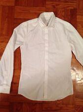 Mens Givenchy Fashion Designer Silver Studded Collar Slim Fit White Shirt Size M