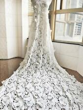 OFF White Embroidered Guipure Lace Fabric Soft Flower Bridal Dress Fabric 51''