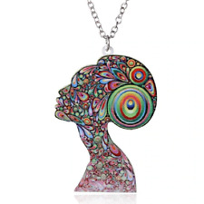 Acrylic Peacock Woman Abstract Colourful Necklace Pendant Jewellery Gift Bag