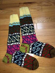 Hand knit women's socks  - Long Large Women's Shoe Size 9 10 11