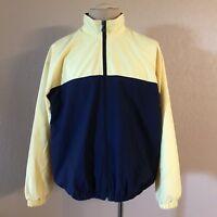 Ashworth Mens Large Windbreaker Golf Jacket Blue Yellow Full Zipper Back Pouch