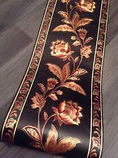 wunderschöne Barock Bordüre schwarz Blumen 5m lang 17,7 cm breit