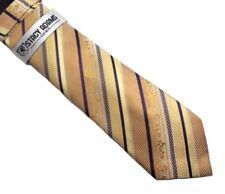 Tie & Hanky Set Stacy Adams Beige Yellow Gold Purple Hand made 100% Microfiber