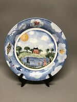 "NIkko REMEMBER WHEN By DEB MORES 10"" DInner Plate Fishing Scene"