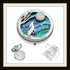 MOON GAZING HARE LARGE 3 SECTION INLAID PAUA & MOTHER OF PEARL SHELL PILLBOX