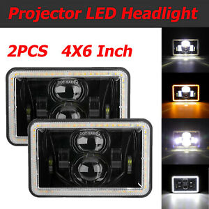 2X 4X6 Inch Rectangular Projector LED Headlight Hilo Beam For Jeep Truck Offroad