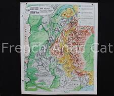 Carte scolaire ancienne Armand Colin Varon Les Alpes géologie 105 Mont Blanc
