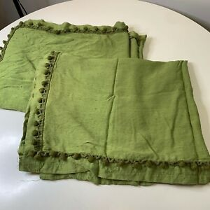 vintage curtain panel  pair green textured ball tasseled edge 60s 70s