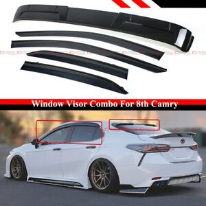 FOR 18-21 TOYOTA CAMRY BLK TRIM WINDOW VIRORS W/ CLIP + REAR WINDOW ROOF SPOILER