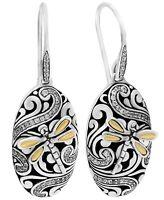 DEVATA Bali Dragonfly Sterling Silver 925 18K Gold Earrings Spinel / CZ SFN8568