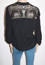 Katies Brand Black Crochet Yoke 3/4 Sleeve Cardigan Size 12 BNWT #SO60