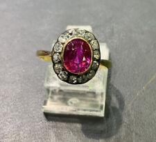 Ring Burma Rubin 1,15ct.  Brillanten Ca. 0,51ct. Gold 18 Kt. Um 1900 Größe 52