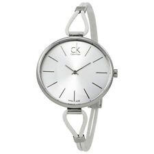 Calvin Klein Selection Silver Dial White Leather Ladies Watch K3V231L6
