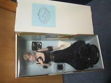 Franklin Mint Princess Diana Vinyl 16 Inch Doll In Black Party Dress NEW COA