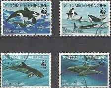 Timbres Faune marine Baleines St Thomas et Prince 1080/3 o lot 5944