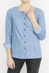 Womens Fat Face Top Blue Denim Chambray Button Collarless Cotton Ladies Blouse