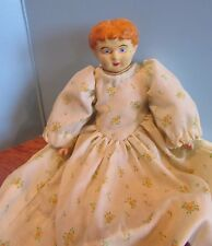 """Antique German Molded Bisque Doll 12"""" Cloth/Body Molded Orange Hair"""