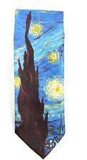 Ralph Marlin Men's Skinny Tie Vincent Van Gogh Starry Night 1990's Vintage